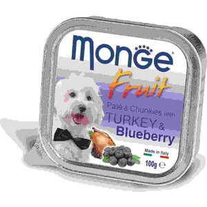 Консервы Monge Dog Fruit Pate and Chunkies with Turkey & Blueberry паштет и кусочки с индейкой черникой для собак 100г