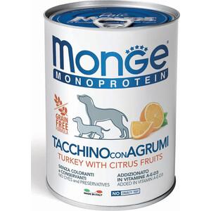 цена на Консервы Monge Dog Monoproteico Fruits Pate Turkey, Rice & Citrus паштет из индейки с рисом и цитрусовыми для собак 400г