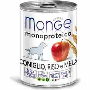Консервы Monge Dog Monoproteico Fruits Pate Rabbit, Rice & Apple паштет из кролика с рисом и яблоками для собак 400г недорого