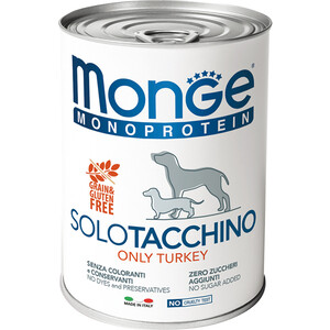 Консервы Monge Dog Monoproteico Solo Pate Turkey паштет из индейки для собак 400г фото