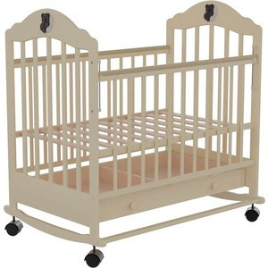 Кроватка Briciola 7 колесо-качалка авт. с ящиком слоновая кость BR0711 кроватка briciola briciola 7 колесо качалка авт с ящиком светлая br0705