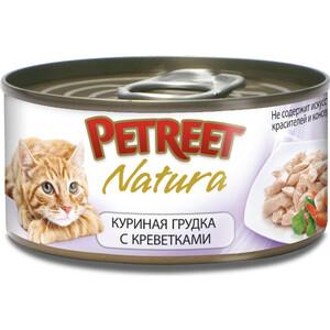 Консервы Petreet Natura куриная грудка с креветками для кошек 70г