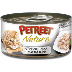 Консервы Petreet Natura куриная грудка с оливками для кошек 70г