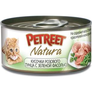Консервы Petreet Natura кусочки розового тунца с зеленой фасолью для кошек 70г