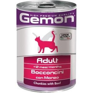Консервы Gemon Cat Adult Chunkies with Beef с говядиной кусочки для взрослых кошек 415г фото