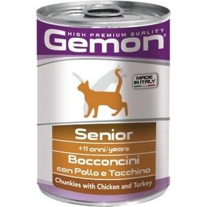 Консервы Gemon Cat Senior Chunkies with Chicken and Turkey с курицей и индейкой кусочки для пожилых кошек 415г