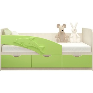 Кровать Миф Дельфин дуб беленый/салатовый ПВХ 2,0 м