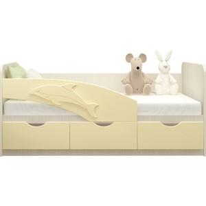 Кровать Миф Дельфин дуб беленый/ваниль ПВХ 1,8 м