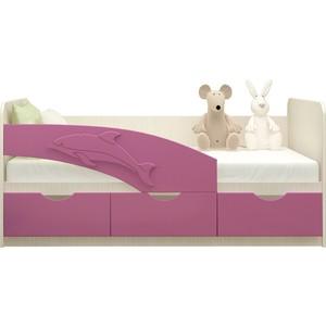 Кровать Миф Дельфин дуб беленый/сиреневый ПВХ 1,6 м