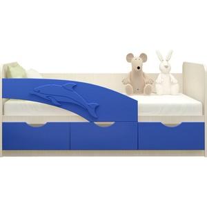 Кровать Миф Дельфин дуб беленый/синий ПВХ 1,8 м