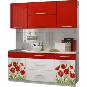 Кухня Миф Маки 1,8 м, красная с фотопечатью nulibenna pоза красная м