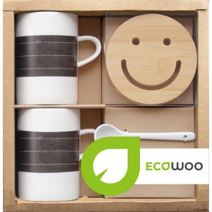 Набор 2 кружки +2 подставки+2 ложки Ecowoo (2012234U)