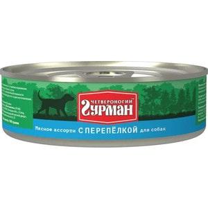 Консервы Четвероногий гурман Мясное ассорти с перепёлкой для собак 100г фото
