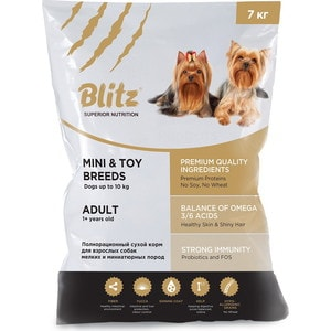 Сухой корм Blitz Petfood Superior Nutrition Adult Dog Mini & Toy Breeds up to10kg с курицей для взрослых собак миниатюрных и мелких пород 7кг цены