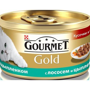 Консервы Gourmet Gold кусочки в соусе с лососем и цыплёнком для кошек 85г (12109424)