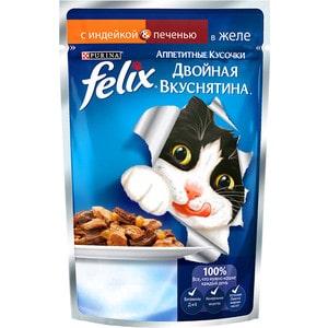 Паучи Felix Двойная вкуснятина аппетитные кусочки в желе с индейкой & печенью для кошек 85г (12294936) фото