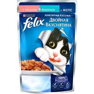 Паучи Felix Двойная вкуснятина аппетитные кусочки в желе с лососем & форелью для кошек 85г (12294937)