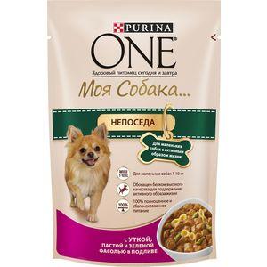 Паучи Purina One Моя собака непоседа с уткой, пастой и зеленой фасолью в подливе для маленьких собак активным образом жизни 100г (12324158)