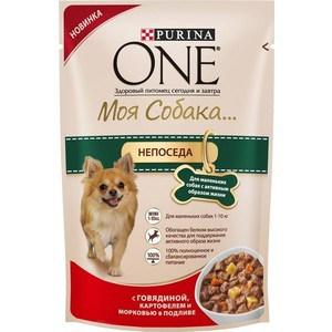 Паучи Purina One Моя собака непоседа с говядиной, картофелем и морковью в подливе для маленьких собак активным образом жизни 100г (12324371)