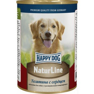 Консервы Happy Dog Natur Line телятина с сердцем для собак 400г (71427) консервы happy dog natur line кролик для собак 85г 71499