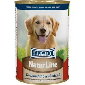 Консервы Happy Dog Natur Line телятина с индейкой для собак 400г (71458) консервы happy dog natur line кролик для собак 85г 71499