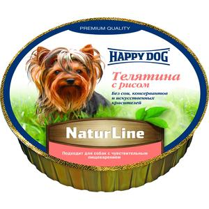 Консервы Happy Dog Natur Line телятина с рисом для собак 85гр (71501) консервы happy dog natur line кролик для собак 85г 71499