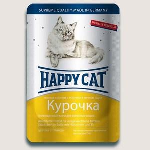 Паучи Happy Cat Курочка нежные кусочки и ломтики в яичном соусе для взрослых кошек 100г (1002305)