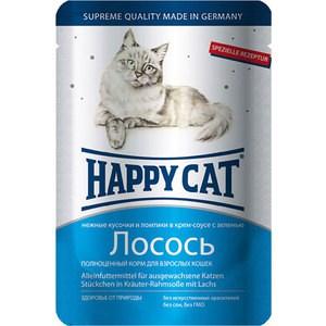 Паучи Happy Cat Лосось нежные кусочки и ломтики в крем-соусе с зеленью для взрослых кошек 100г (1002306)