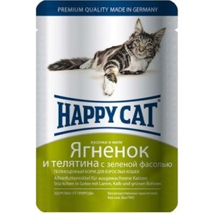 Паучи Happy Cat Ягненок и телятина с зеленой фасолью кусочки в желе для взрослых кошек 100г (1002307)