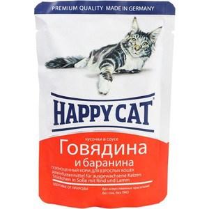 Паучи Happy Cat Говядина и баранина кусочки в соусе для взрослых кошек 100г (1002314)