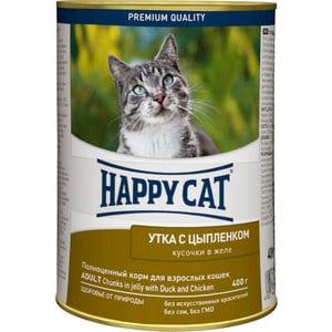 Консервы Happy Cat Adult Chunks in Jelly with Duck & Chicken кусочки в желе с уткой и цыпленком для взрослых кошек 400г (PB040XH120)