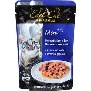 Паучи Edel Cat Menu нежные кусочки в соусе с лососем и форелью для кошек 100г (08100)