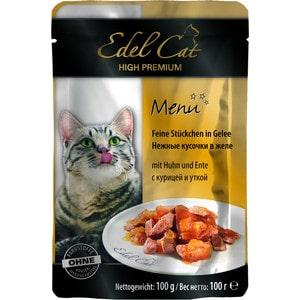 Паучи Edel Cat Menu нежные кусочки в желе с курицей и уткой для кошек 100г (08106) паучи для кошек и котов pcg ме о сардина с курицей и рисом в желе 80 г