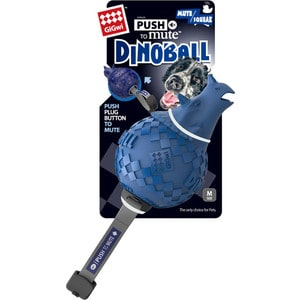 Игрушка GiGwi Push to Mute Dinoball Squeak динозавр с отключаемой пищалкой для собак (75398)