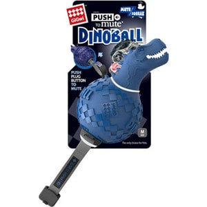 Игрушка GiGwi Push to Mute Dinoball Squeak динозавр с отключаемой пищалкой для собак (75417)