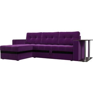 Диван угловой АртМебель Атланта микровельвет фиолетовый левый