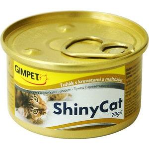 Консервы Gimborn Gimpet ShineCat тунец с креветками и солодом для кошек 70г (413372) корм для кошек gimpet shiny cat цыпленок конс 70г