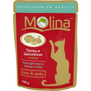 Паучи Molina Taste & Quality Tuna Light Meat Chicken in Jelly тунец и цыпленок в желе для кошек 100г (1075)
