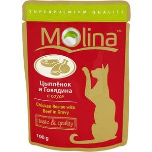 Паучи Molina Taste & Quality Chicken Recipe with Beef in Gravy цыплёнок и говядина в соусе для кошек 100г (1112)