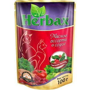 Паучи Herbax Мясное ассорти в соусе с листьями брусники для кошек 100г