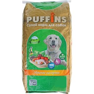 Сухой корм Puffins Мясное ассорти для собак 15кг сухой корм puffins курица по домашнему для собак 15кг