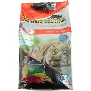 Сухой корм Ночной охотник Мясное ассорти для взрослых кошек 10кг