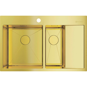 Кухонная мойка Omoikiri Akisame 78-2-LG-L светлое золото (4973087) мойка кухонная omoikiri akisame 41 lg 410 510 светлое золото 4973080