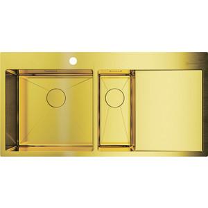 Кухонная мойка Omoikiri Akisame 100-2-LG-L светлое золото (4973089) мойка кухонная omoikiri akisame 41 lg 410 510 светлое золото 4973080