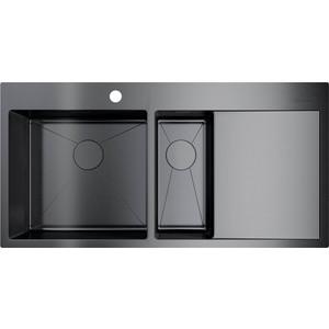 Кухонная мойка Omoikiri Akisame 100-2-GM-L вороненая сталь (4973103)