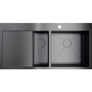 все цены на Кухонная мойка Omoikiri Akisame 100-2-GM-R вороненая сталь (4973104) онлайн