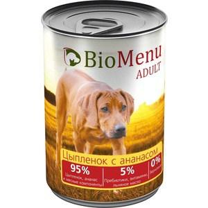 Консервы BioMenu Adult Цыпленок с ананасом 95% цыпленок, ананас и мясные компоненты для собак 410г