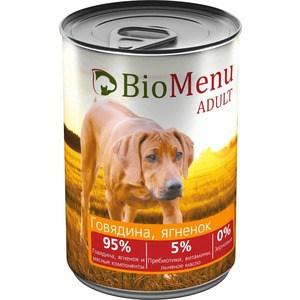 Консервы BioMenu Adult Говядина и ягненок 95% говядина, мясные компоненты для собак 410г