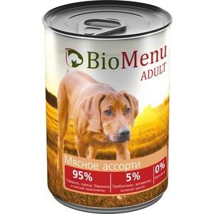Консервы BioMenu Adult Мясное ассорти 95% говядина,курица,баранина и мясные компоненты для собак 410г