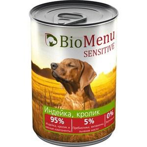 Консервы BioMenu Sensitive Индейка, кролик 95% индейка, и мясные компоненты для собак 410г